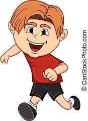 A boy running cartoon