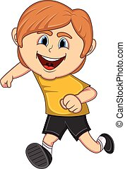 A boy running cartoon