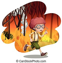 A Boy Running from Wildfire illustration