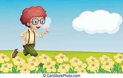 A boy running in a floral field