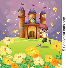 A boy running in front of the castle with flowers