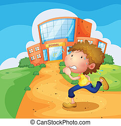 A boy running in front of the school