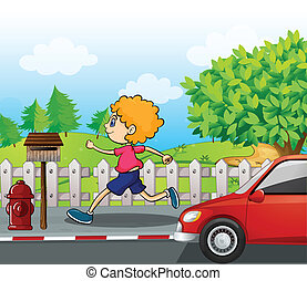 A boy running near the wooden mailbox