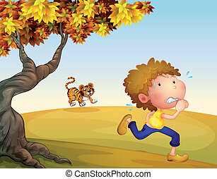 A boy running with a tiger at his back