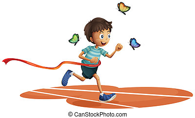 A boy running with three butterflies