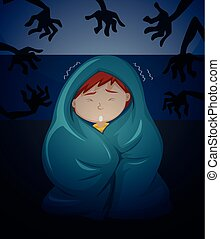 A boy scare of ghost illustration