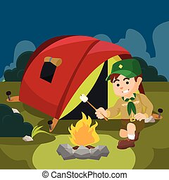 a boy scout campfire