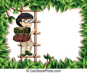 A boy scout on nature frame