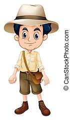 A Boy Scout Wearing Hat