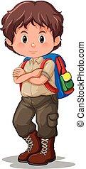 A boy scout wearing uniform