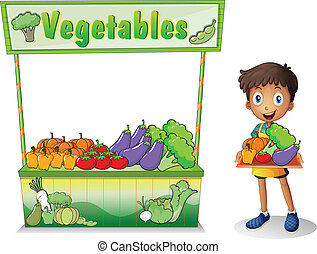 A boy selling vegetables - Illustration of a boy selling...