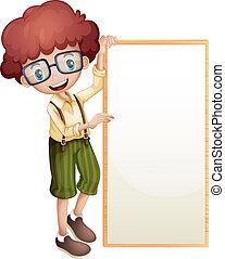 A boy showing an empty frame