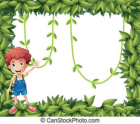 A boy showing the leafy frame with vine plants