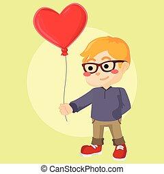 a boy shy holding heart balloon
