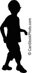 a boy, silhouette