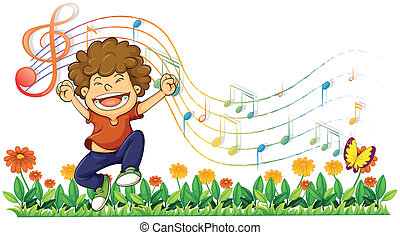 A boy singing out loud with musical notes