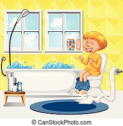 A Boy Sit on the Toilet