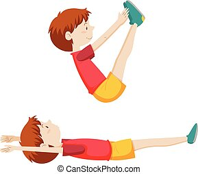 A boy sit up exercise