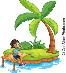 A boy sitting above the bridge in an island