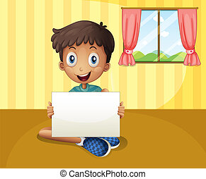 A boy sitting at the floor with an empty signboard