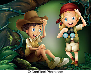 A boy sitting at the root of a tree and a girl with a telescope