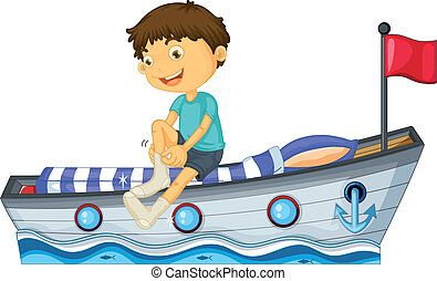 A boy sitting in the boat fixing his sock
