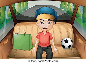 A boy sitting inside a running car - Illustration of a boy...