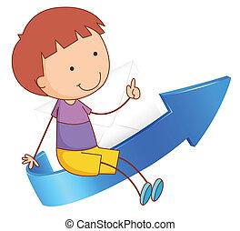 a boy sitting on arrow