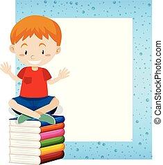 A Boy Sitting on Book Frame