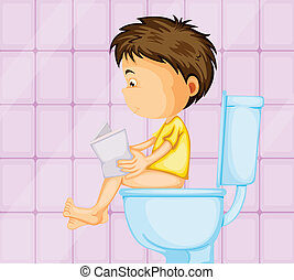 a boy sitting on commode