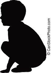 a boy sitting silhouette