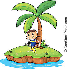 A boy sitting under the coconut tree