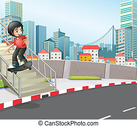 A boy skateboarding at the street near the stairs