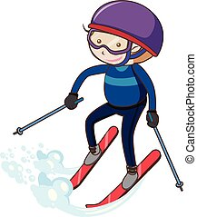 A Boy Skiing on White Background