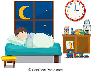 A boy sleeping in bedroom