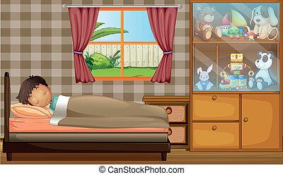 A boy sleeping in his bedroom