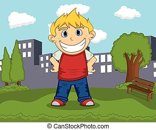 A boy smiling in the park with city