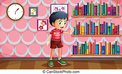 A boy standing beside the wooden shelves with books