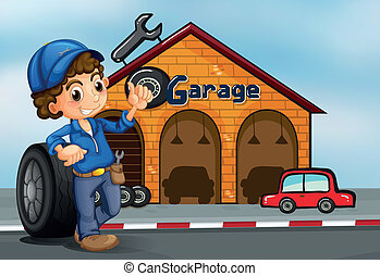 A boy standing in front of a garage
