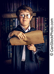 manuscripts - A boy stands in the library by the bookshelves...