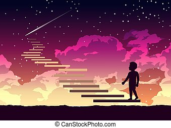 a boy step on the stair way to heaven with interesting
