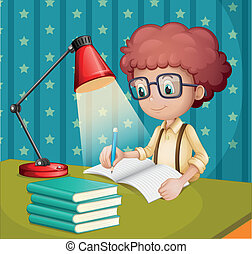 Illustration of a boy studying