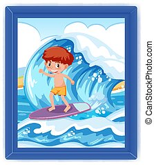 A boy surfing on big wave scene photo in a frame