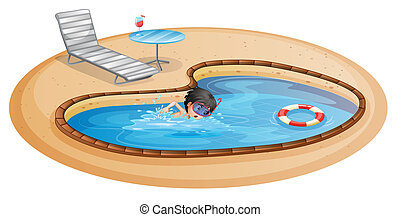 A boy swimming at the pool with a beach chair and table