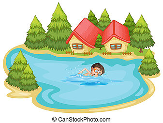 A boy swimming at the river with pine trees