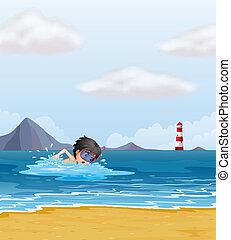 A boy swimming in the sea near the lighthouse
