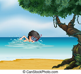 A boy swimming near an old tree