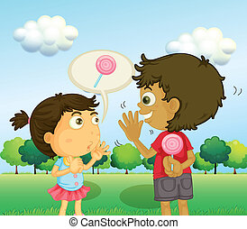 A boy talking to a young girl with a lollipop at his back
