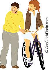 boy teaches girl to ride a bike