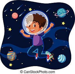 A boy travel in space